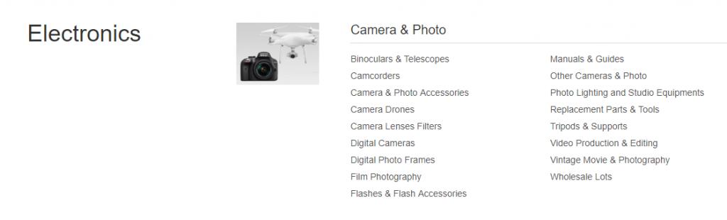 electronics ebay categories