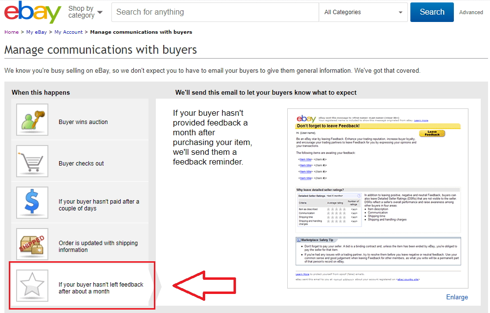 ebay automated feedback request