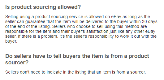 eBay dropshipping policy