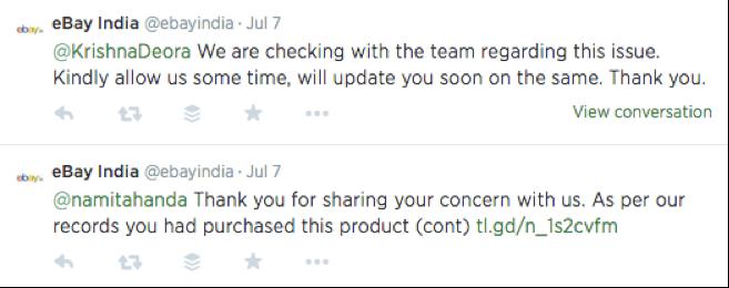 eBay India customer service on twitter