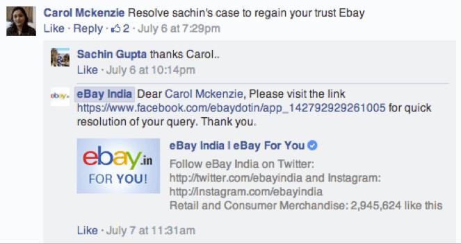 eBay customer service on Facebook example