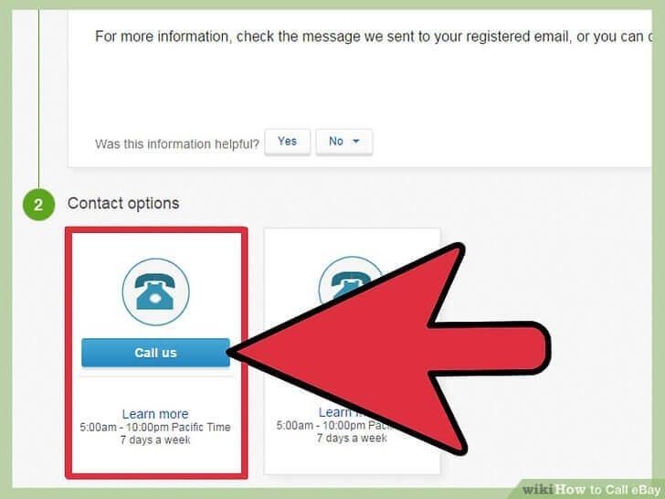 ebay customer service call us button