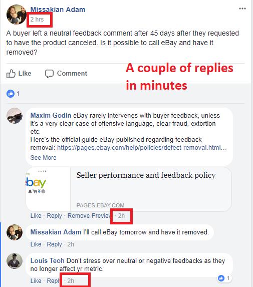 ebay seller helping in facebook