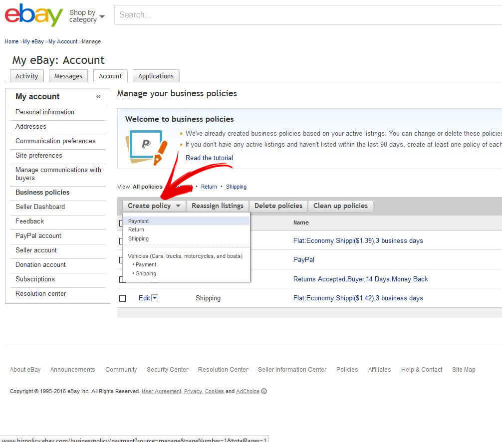 ebay templates support business policies