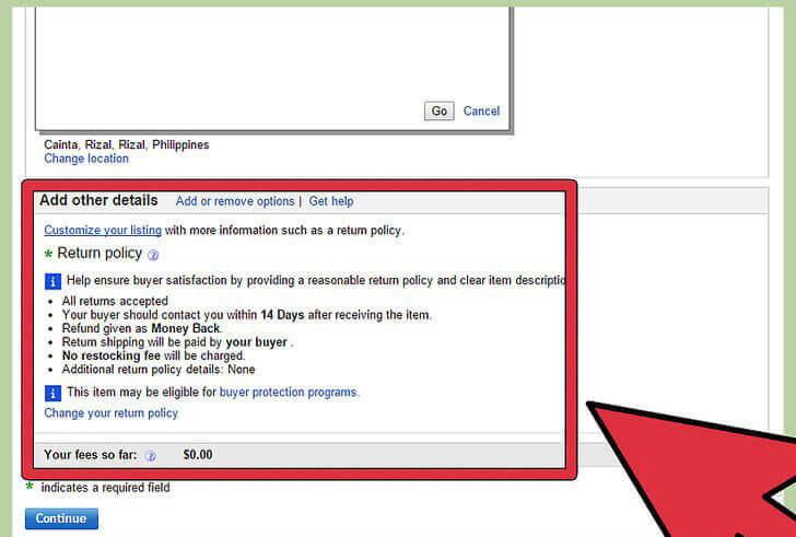 edit ebay return policy