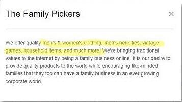 eBay store description
