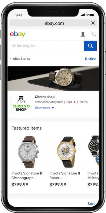 ebay store design mobile