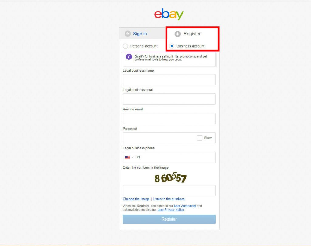 register ebay business account