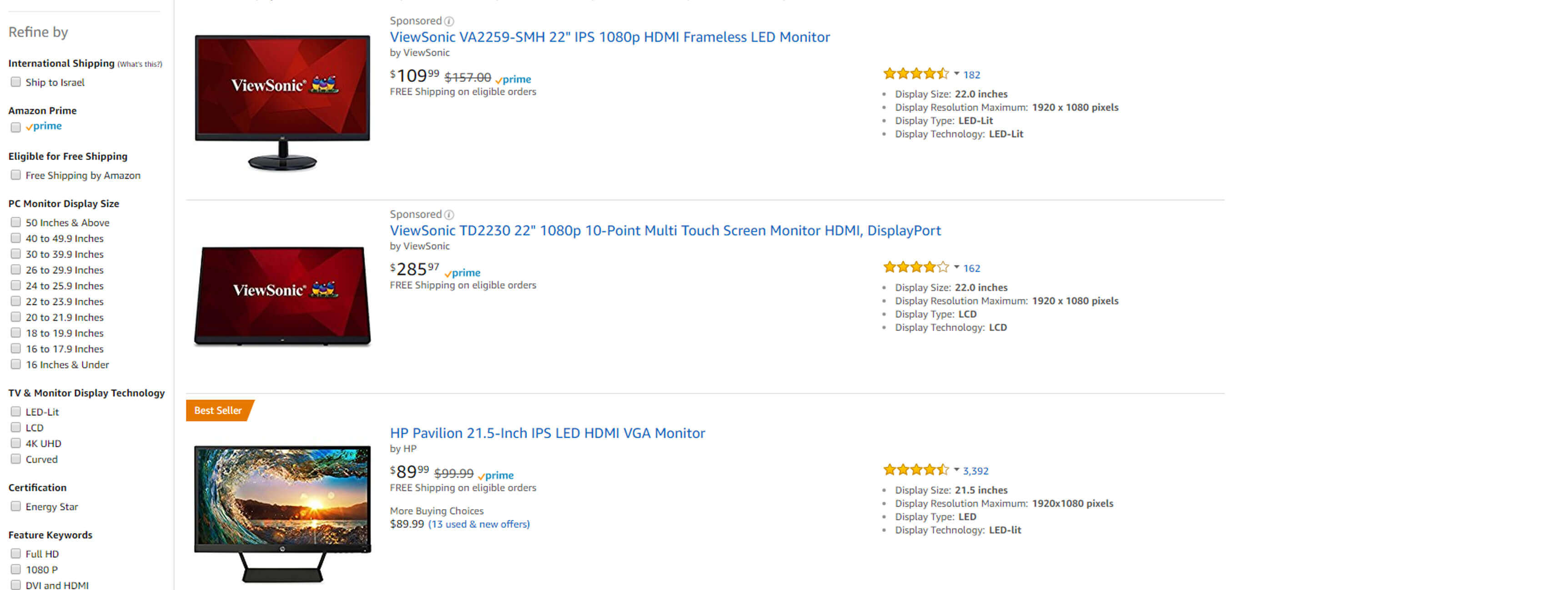 Monitors on sale amazon